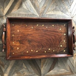 Rosewood Tray Brass Inlaid Design Handmade